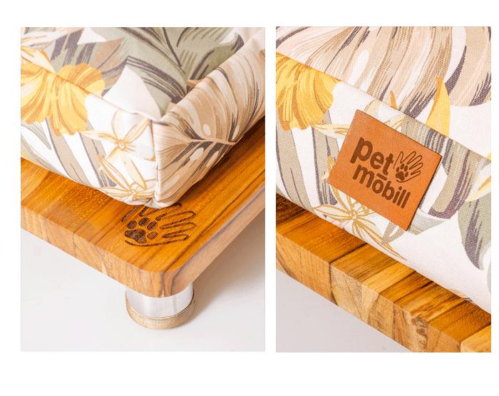 cama pet de madeira decorando a sala