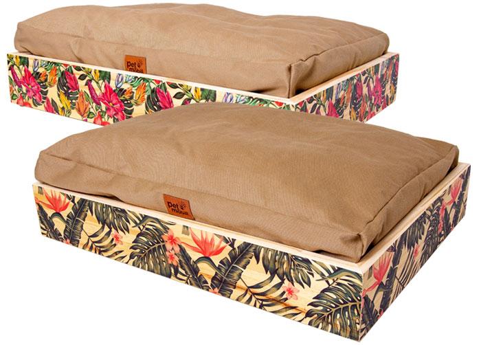 cama pet de madeira teca